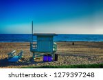 This is a lifeguard tower in Will rogers beach, Santa Monica
