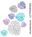 vector tropical pattern with... | Shutterstock .eps vector #1279408582