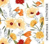 flower pattern with hand drawn...   Shutterstock .eps vector #1279476568