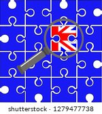 blue puzzle with uk flag and... | Shutterstock . vector #1279477738