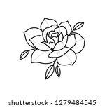 rose tattoo dot work  | Shutterstock .eps vector #1279484545