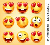 emoji smiley with red heart... | Shutterstock .eps vector #1279526512
