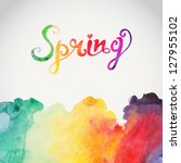 Постер, плакат: Spring vector watercolor lettering