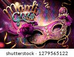 mardi gras carnival design with ... | Shutterstock .eps vector #1279565122