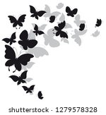 Stock vector black butterfly isolated on a white 1279578328