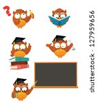 intelligent owl set | Shutterstock .eps vector #127959656