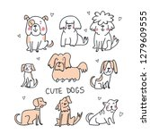 set of cute handdrawn dogs line ... | Shutterstock .eps vector #1279609555