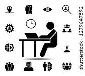 desk  job icon. simple glyph...