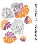 vector tropical pattern with... | Shutterstock .eps vector #1279669105