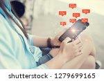 social media concept. woman... | Shutterstock . vector #1279699165