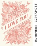vintage greeting vector card... | Shutterstock .eps vector #1279724755