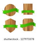 vector green eco wooden badges