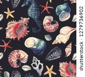 watercolor marine pattern ... | Shutterstock . vector #1279736902