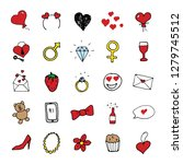 love and valentine doodle icons ... | Shutterstock .eps vector #1279745512