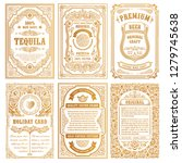 vintage golden vector set retro ... | Shutterstock .eps vector #1279745638