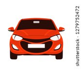 Stock vector red car vector illustration flat style front view 1279752472