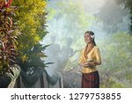 woman wearing laos traditional... | Shutterstock . vector #1279753855