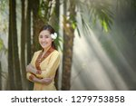 woman wearing laos traditional... | Shutterstock . vector #1279753858