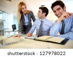 business team working on sales... | Shutterstock . vector #127978022