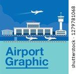 flat style airport illustration | Shutterstock .eps vector #1279781068