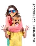 children's couple with animal... | Shutterstock . vector #1279803205