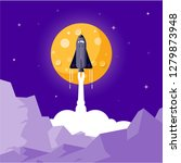 space rocket launching flat... | Shutterstock .eps vector #1279873948