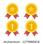 vector of gold medal with red... | Shutterstock .eps vector #1279880818