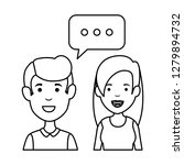 young couple with speech bubble ... | Shutterstock .eps vector #1279894732