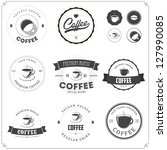 set of vintage coffee themed... | Shutterstock .eps vector #127990085