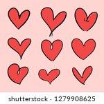 set of red heart shape empty.... | Shutterstock .eps vector #1279908625