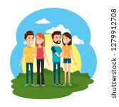 group of people in the camp | Shutterstock .eps vector #1279912708