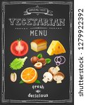 vegetarian menu on chalkboard.... | Shutterstock .eps vector #1279922392