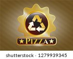 golden emblem with recycle... | Shutterstock .eps vector #1279939345