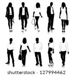 collection of people silhouettes | Shutterstock .eps vector #127994462
