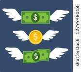 money flying with wings... | Shutterstock .eps vector #1279948018