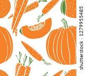 orange fresh pumpkin and carrot ... | Shutterstock .eps vector #1279955485