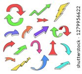 colored arrows. hand drawn... | Shutterstock . vector #1279956622