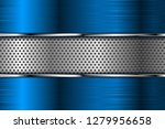 blue metal background with... | Shutterstock . vector #1279956658