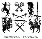 set of black silhouette on... | Shutterstock .eps vector #127996226