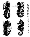 set of black silhouette on...   Shutterstock .eps vector #127996235