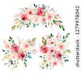 set floral bouquets with... | Shutterstock . vector #1279978042