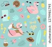 cute summer seamless pattern... | Shutterstock .eps vector #1279981795