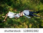 spring wedding theme  young... | Shutterstock . vector #128002382