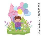 little chubby boy in the... | Shutterstock .eps vector #1280025898