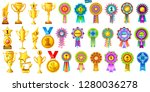 set of golden cups  medals and...