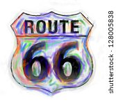 route 66 sign done in a... | Shutterstock . vector #128005838