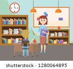 elementary school cartoon | Shutterstock .eps vector #1280064895
