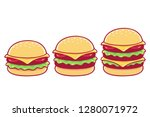 burger drawing set. simple ... | Shutterstock .eps vector #1280071972