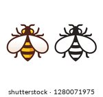 bee icon or logo in color and... | Shutterstock .eps vector #1280071975
