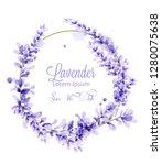 pink watercolor lavender wreath ... | Shutterstock .eps vector #1280075638